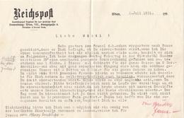 V1 - ÖSTERREICH REICHSPOST - Schreiben Von Unabhängigen Tagblatt 1931 - Historische Dokumente