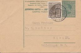 V1 - JUGOSLAWIEN 1921? - 50 ? Ganzsache + 50 ? Zusatzfrankierung Auf Pk, Gel.v. Pabov? > Wien IV - Briefe U. Dokumente