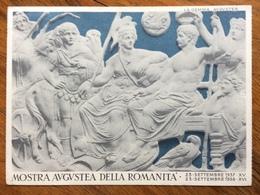 MOSTRA AUGUSTEA DELLA ROMANITA'  SERVIZIO DEL BANCO DI NAPOLI + TIMBRO FRANCHIGIA + ANNULLO SPECIALE ROMA 1/11/37 - Storia
