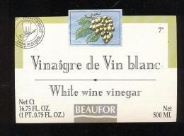 Etiquette  De Vinaigre De Vin Blanc  -  Beaufor   France - Etiquettes
