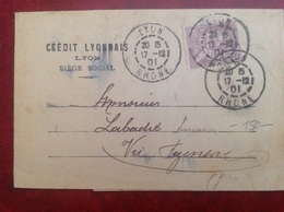 YT 115 Seul Sur Lettre Lyon Crédit Lyonnais - Storia Postale