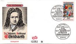 """BRD Schmuck-FDC """"250. Todestag Von Dr. Johannes Andras Eisenbarth"""", Mi. 953 ESSt 10.11.1977 BONN 1 - FDC: Covers"""