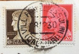 VILLAGGIO MUSSOLINI CAGLIARI  28 /12/1930  ANNULLO SU CARTOLINA PER MILANO - Storia