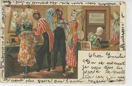 SPECTACLE - CIRQUE - Jolie Carte Fantaisie Clowns Se Préparant Dans Leur Loge (carte Précurseur ) - Circo