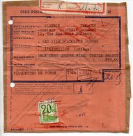 Petis-Colis 20,00 F Seul Sur Bulletin De 1964 D'envoi Pour L'Algérie - Colis Postaux