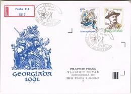 32677. Carta Certificada PRAHA (Checoslovaquia) 1991. GEORGIADA 91. SCOUT.  San Jordi Y Dragon - Cartas
