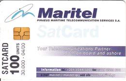 GREECE - Maritel Satellite Card 100 Units, Tirage 30000, 04/00, Used - Boats