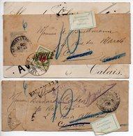 Bande Journal 1c Blanc : Lot De 2 De 1906 Pour La Suisse Avec Retour à L'envoyeur (Refus Pour Taxe) - Newspaper Bands