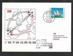 Portugal Premier Vol TAP Lisbonne Copenhagen Via Dusseldorf 1979 Lisbon Copenhagen Flight - Poste Aérienne
