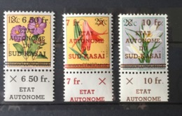 Sud Kasai - 1/13 - Fleurs - Essai - Les 3 Différentes Surcharges Avec Surcharge Sur Le Bord De Feuille - 1961 - MNH - Sud-Kasaï