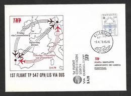Portugal Premier Vol TAP Copenhagen Lisbonne Via Dusseldorf 1979 Copenhagen Lisbon First Flight - Poste Aérienne