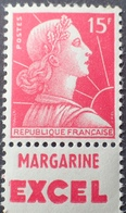 R1949/713 - 1955 - MARIANNE DE MULLER - N°1011 NEUF** BANDE PUBLICITAIRE : MARGARINE EXCEL - Advertising