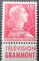 R1949/714 - 1955 - MARIANNE DE MULLER - N°1011 NEUF** BANDE PUBLICITAIRE : TELEVISION GRAMMONT - Advertising