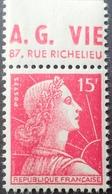 R1949/715 - 1955 - MARIANNE DE MULLER - N°1011 NEUF** BANDE PUBLICITAIRE : AG VIE 87 Rue Richelieu - Advertising