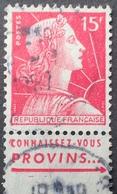 R1949/716 - 1955 - MARIANNE DE MULLER - N°1011 ☉ BANDE PUBLICITAIRE : CONNAISSEZ VOUS PROVINS ... - Advertising