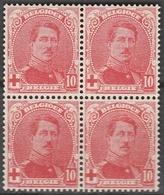 Belgie    .    OBP   .    130  Blok Van 4          .      **       .   Postfris    .  / .  Neuf Sans  Charniere - 1914-1915 Croix-Rouge