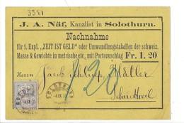 22054 - Soleure J.A.Näf Kanzlist In Solothurn  Nachmahme Pour Schnottwil 1886 - SO Soleure