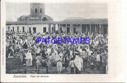 111968 PARAGUAY ASUNCION SQUARE PLAZA DEL MERCADO MARKET  POSTAL POSTCARD - Paraguay