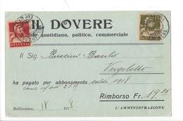 22055 -  Bellinzona Il Dovere Quotidiano Politico Commerciale Rimborso Pour Vergeletto 1918 - TI Tessin