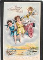 ANGES, ANGELOTS, Charrette, Trompette, Corne D'abondance, Gaufrée, Relief - Anges