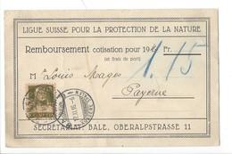 22056 -  Bâle Ligue Suisse Pour La Protection De La Nature Remboursement Pour Payerne 1916 - BS Bâle-Ville