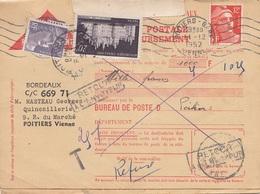 FRANKREICH 1952 - 12 F + 5 + 20 F Auf Faltbrief (Nachnahme?) Mit Retour-Stempel Gel. Bordeaux - Poitiers - Frankreich