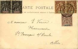 NOSSI BE- Affranchissement Type Groupe Sur Carte Postale Pour La France En 1902 - L 29419 - Brieven En Documenten