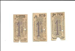3 Tickets Anciens. BUS. The London General Omnibus Co. Ltd. Voir Description - Bus