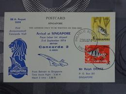 FDC SINGAPORE ARRIVEE DU CONCORDE LE 22 AOUT 1974 - FDC