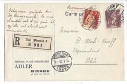 22061 - Biel Modes Pour Messieurs Adler Bienne Pour Bâle Recommandé 1919 - BE Berne