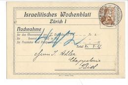 22062 - Zürich Israelitisches Wochenblatt Nachnahme Pour Biel 1913 - ZH Zurich