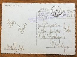 FASCISMO ANCONA 16/3/41  FEDERAZIONE FASCISTA UFFICIO ASSISTENZA MILITARI IN TRANSITO   FRANCHIGIA CARTOLINA PER BOLOGNA - Storia