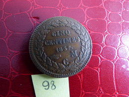 BELLE  MONACO 5 CENTIMES 1837 CM - Monaco