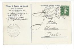 22065 - Mendrisio Fabrique De Chemises Pour Hommes Pour Biel 1913 - TI Tessin