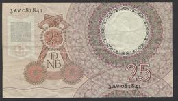 Netherlands  25 Gulden 10-4-1955 - NO: 3 AV 081841  - See The 2 Scans For Condition.(Originalscan ) - [2] 1815-… : Koninkrijk Der Verenigde Nederlanden
