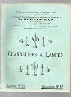 Lyon Mâcon Paris :catalogue SEGUIN ET Cie (cuivrerie) : CHANDELIERS ET LAMPES (CAT 1401) - Advertising