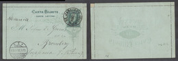 Brazil -Stationary. 1893 (18 Dec). RJ - Germany, Bromberg (13 Jan 94). 200rs Dark Green D Pedro Stat Lettersheet. XF Use - Unclassified