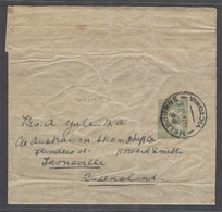 AUSTRALIA. 1915 (17 Jn). Melbourne, Victoria - Tronsville, Qe. 1/2d Green Cangaroo Complete Stat Wrapper. Fine Used. - Australia