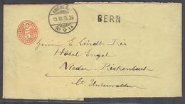 Switzerland - Stationery. 1895 (19 July). Bern - Nieder Rickenbach. 5c Red Complete Stat Wrapper Stline Bern TPO Nº14. V - Switzerland