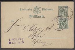 GERMAN STATES-WURTTEMBERG. 1893 (27 Dec). Ulm - Switzerland, Bern. 5pf Green Stat Card Adtls Cds. VF. - Germany