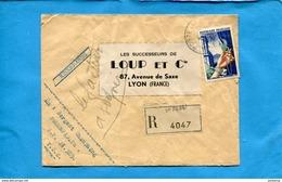 Guerre D'Indochine-MARCOPHILIE-lettre REC AVION -cad Poste Aux Armées411-SP 70667   1956-taxe Aérienne 50Frs - Marcophilie (Lettres)