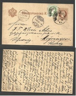 AUSTRIA - Stationery. 1883 (4 Sept) Salzburg - Meijringen, Switzerland (5-6 Sept) 2kr Brown Stat Card + 3kr Green Adht. - Austria