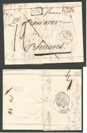 "CZECHOSLOVAKIA. 1839 (26 Jan) Prag - France, Rheims (2-4 Febr) Stampless EL, Red St. Line Date Depart Brown + ""LA"" + Cha - Unclassified"