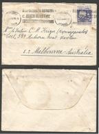 BULGARIA. 1938 (17 Nov) Plovdiv- Australia, Melbourne. Single Fkd Envelope. Slogan Cachet. TPO. - Bulgarije