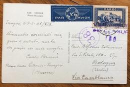 """TANGERI 9/3/41 FR.1,50 MAROC ISOLATO SU CARTOLINA PAR AVION """" Da Casa Littoria Tangeri """"... PER BOLOGNA - Storia"""
