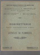 Lyon Mâcon Paris :catalogue SEGUIN ET Cie (cuivrerie) : ROBINETTERIE Pour Distribution D'eau (CAT 1402) - Publicités