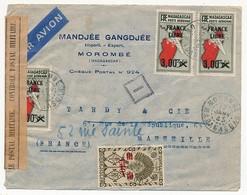 """MADAGASCAR - Enveloppe Depuis Morombé, 1945, Avec Bande """"Contrôle Postal Militaire"""", Lecteur """"I"""" - Madagascar (1889-1960)"""