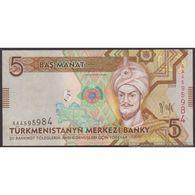 TWN - TURKMENISTAN 23 - 5 Manat 2009 Prefix AA UNC - Turkmenistán