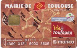 MONEO CARTE A PUCE PORTE-MONNAIE ELECTRONIQUE  VILLE DE TOULOUSE STATIONNEMENT VÉLO TRACES USAGE - Frankrijk