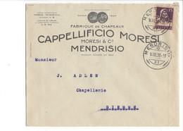22068 - Lettre Mendrisio Fabrique De Chapeaux Cappellificio Moresi 1920 - Suisse